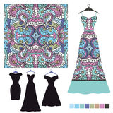 Dress silhouette with tribal seamless pattern.Fashion set Stock Photography