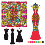 Dress silhouette with tribal seamless pattern.Fashion vector illustration