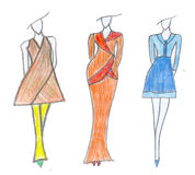 Dress sketch. Business fashion style. Royalty Free Stock Photo