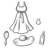Dress, sun hat, ring, mirror and perfume sketch Royalty Free Stock Photo