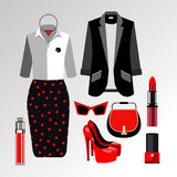 Dress  sunglasses fashion jacket shirt shoes clothing set Royalty Free Stock Image