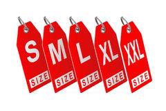 Dress Tags with Size Sign. 3d Rendering. Dress Tags with Size Sign on a white background. 3d Rendering Stock Photos