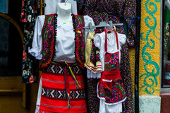 Dress typical Romanian. Clothes typical Romanian in a shop in the center of Bucharest Royalty Free Stock Photo