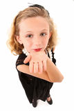 Dress Up. Adorable 7 year old girl in over sized dress and shoes over white background stock photography
