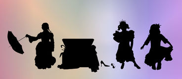Dress Up. Silhouttes of three young girls playing dress up Royalty Free Stock Photography