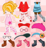 Dress up cute look. Illustration of cute girl dressing up Royalty Free Stock Photo