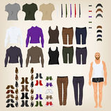 Dress up doll with  hipster clothes Stock Images