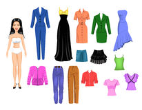 Dress up the girl. Cartoon illustration of a girl and a collection of clothes to dress up the girl Stock Photography