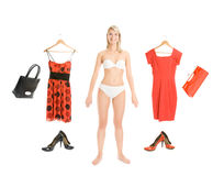 Dress up the girl item set Stock Photos