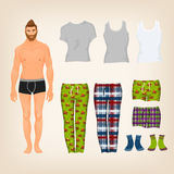 Dress up male paper doll. With an assortment of freestyle homewear and pyjamas Stock Image