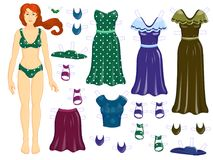 Dress up  paper dall - woman Autumn clothers. Dress up  paper dall - woman Autumn Stock Photography