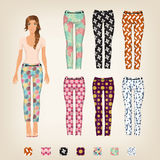 Dress up paper doll with an assortment of pants. Dress up paper doll with an assortment of patterned pants Stock Photography