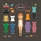 Dress up paper doll with big head Royalty Free Stock Photos