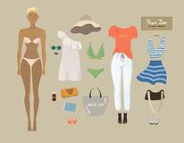 Dress up paper doll. Female body template. Stock Photos