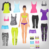 Dress up sporty paper doll Royalty Free Stock Images