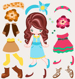 Dress up vintage style. Paper Doll with different fashion dresses and accessories Royalty Free Stock Photos