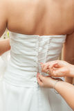 Dress-up wedding dress for bride Stock Images