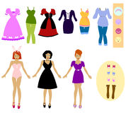 Dress us up!. Collection of cloths and accessories with girls that you can dress up Stock Photo