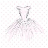 Dress in the vector. Hand drawing clothes . Vintage . Fashion. Royalty Free Stock Image