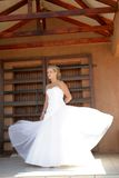 Dress Wind. A brides dress blown by the wind royalty free stock image