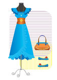 Dress for woman. Blue dress and accessories for woman Royalty Free Stock Photography