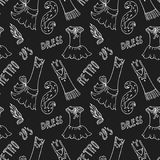 Dress woman in vintage style 20s pattern seamless. Seamless pattern with women`s clothing in vintage style 1920`s. on the black background Stock Images