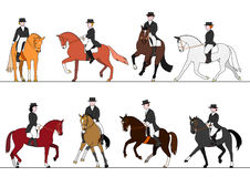 Dressage action set Stock Photos