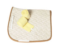 Dressage champagne saddle cloth and yellow bandages  isolated on Stock Photo