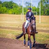 Dressage de sport équestre, revue du projet - les jeunes filles dans des vêtements de jockey s'asseyent sur un cheval photos libres de droits