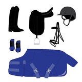 Dressage Equipment Theme. Equestrian Sports Dressage Equipment Theme stock illustration