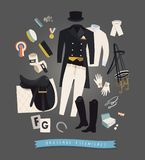 Dressage essentials, tools and accessories. Equestrian illustration, dressage essentials for the rider, tools and accessories for the horse Royalty Free Stock Images