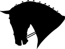 Dressage horse head. A  silhoueete of dressage horse head black colour Royalty Free Stock Photo