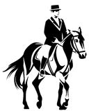 Dressage. Horse and horseman performing dressage - black and white equestrian sport vector design Stock Image