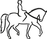 Dressage horse with rider caligraphy. Sports vector Stock Image