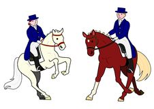 Dressage. Horses with male and female riders stock illustration