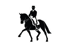 Dressage horses. Silhouette of a dressage horse and rider on a white background Royalty Free Stock Photos
