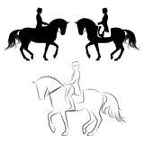 Dressage piaffe. Set of 3 silhouettes of dressage horse with rider performing piaffe Stock Photography