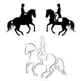 Dressage pirouette. Set of 3 silhouettes of dressage horse with rider performing pirouette Stock Photos