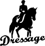 Dressage riding with retro word Royalty Free Stock Image
