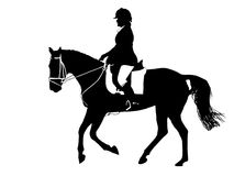 Dressage Silhouette. A silhouette of a dressage horse & rider in black & white with a clipping path Royalty Free Stock Photography