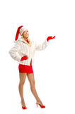 Dressed as Santa Claus Pointing Advertising Space Stock Images