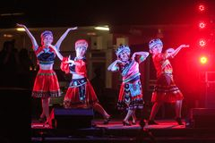 Female Chinese dancers in colorful costumes, Chinese New Year royalty free stock photos