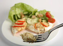 Dressed crab on a fork Stock Photo