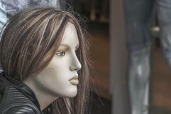 Dressed doll female mannequin standing outside stock image