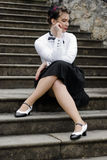 Dressed in forties style. Young attractive women dressed in forties style, swing era Royalty Free Stock Photo
