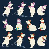 Dressed polar bears collection for Christmas designs royalty free illustration