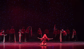 Dressed in Red Veil Bride-Chinese folk dance. May 15, 2016, from Jiangxi province around the dancers gathered to exchange skills. At the Nanchang Repertory Stock Photos