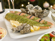 Dressed Side of Salmon Boxing Day Buffet Royalty Free Stock Image