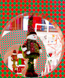 Dressed snow man decoration for Christmas in Delhi. Snowman dressed in a santa claus costume placed in a decorated ring. Christmas decorations in Delhi Royalty Free Stock Photo