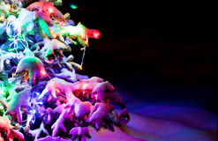 Dressed sparkling New Year's tree under powder snow. Stock Photography